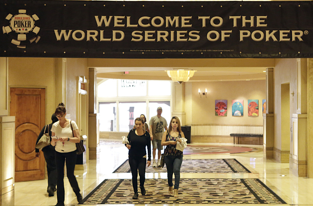Welcome to the 2016 World Series of Poker sign is shown on Monday May 30, 2016, at the Rio hotel-casino's Convention Center where the WSOP will be held from May 31 to Oct. 3. (Bizuayehu Tesfaye/La ...