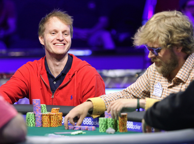 Jiri Horak, left, of Czech Republic, and Ben Keeline, of Westminster, Colorado, play in final table of the $565 buy-in Colossus II No-limit Hold'em at the 47th annual World Series of Poker at th ...