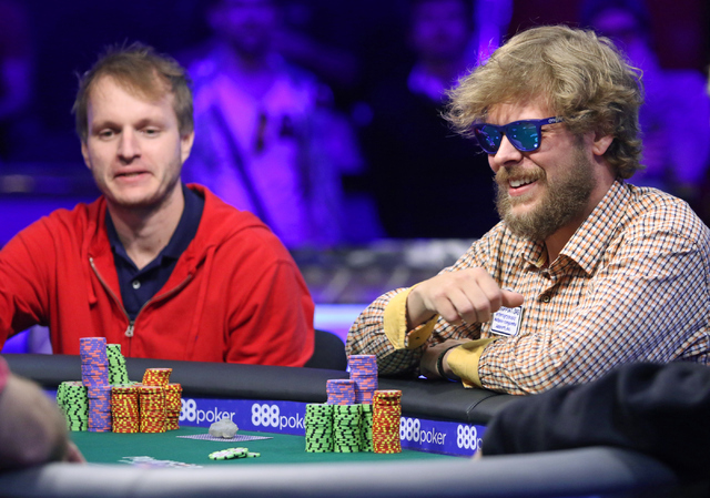 Ben Keeline, right, of Westminster, Colorado, and Jiri Horak, of Czech Republic, play in final table of the $565 buy-in Colossus II No-limit Hold'em at the 47th annual World Series of Poker at t ...
