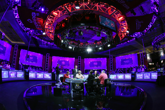 The final table of the $565 buy-in Colossus II No-limit Hold'em with last four remaining players: Jiri Horak, from left, Ben Keeline, Farhad Davoudzadeh and Richard Carr are shown at the 47 ...