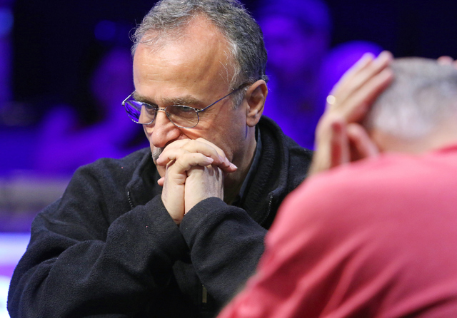 Farhad Davoudzadeh, of Palmdale, Calif., plays in final table of the $565 buy-in Colossus II No-limit Hold'em at the 47th annual World Series of Poker at the Rio Convention Center Tuesday,  ...