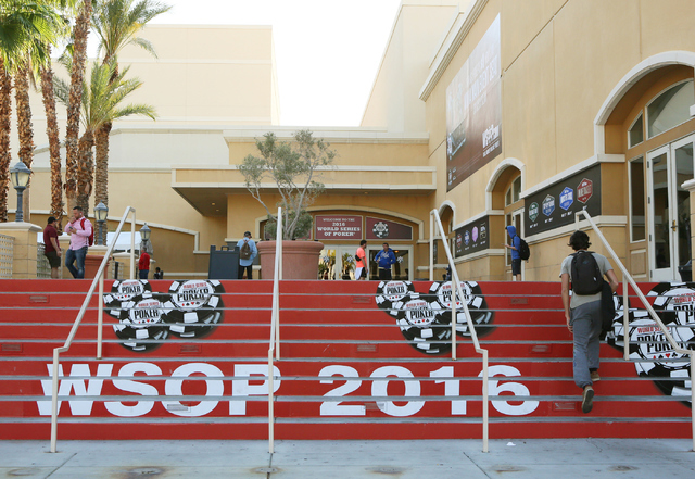 The entrance to the 47th annual World Series of Poker is shown at the Rio Convention Center Tuesday, June 7, 2016, in Las Vegas. (Ronda Churchill/Las Vegas Review-Journal)