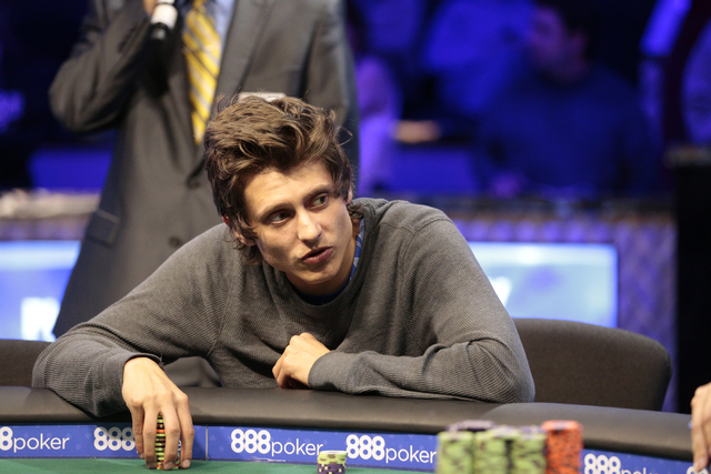 Tournament participant Luke Brereton looks across the table during the World Series of Poker $1,500 Millionaire Maker No-Limit Hold'em final table at the Rio Convention Center in Las Vegas on Tues ...