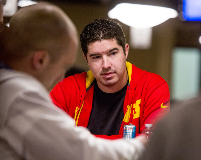 Blair Hinkle plays $1,500 6-handed No-limit Hold 'em tournament at Rio Convention Center, 3700 W. Flamingo Rd., on Wednesday, June 8, 2016.  (Jeff Scheid/Las Vegas Review-Journal) Follow @jlscheid