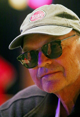 Roger Sippl, of Woodside, Calif., plays in the $1,000 buy-in Seniors No-limit Holdեm at the 47th annual World Series of Poker at the Rio Convention Center Sunday, June 19, 2016, in Las Vegas ...