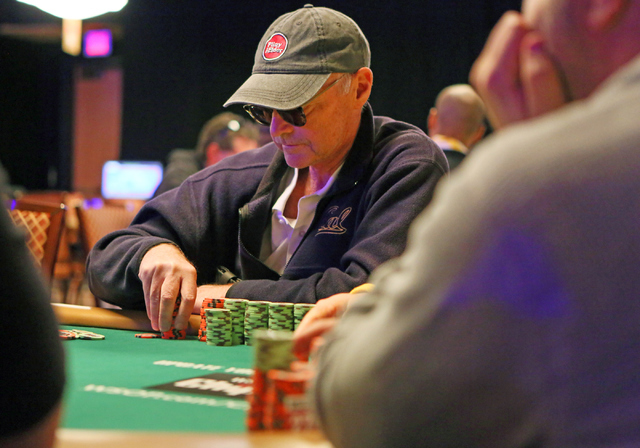 Roger Sippl, of Woodside, Calif., plays in the $1,000 buy-in Seniors No-limit Holdեm at the 47th annual World Series of Poker at the Rio Convention Center Sunday, June 19, 2016,  in Las Vega ...