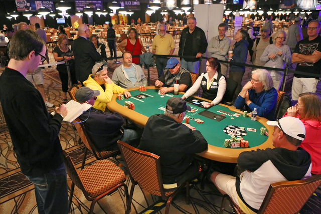 Play is shown at one of two remaining tables of the $1,000 buy-in Seniors No-limit Holdեm at the 47th annual World Series of Poker at the Rio Convention Center Sunday, June 19, 2016, in Las  ...