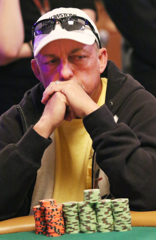 Johnnie Craig, of Baytown, Texas, plays in the $1,000 buy-in Seniors No-limit Holdեm at the 47th annual World Series of Poker at the Rio Convention Center Sunday, June 19, 2016, in Las Vegas ...