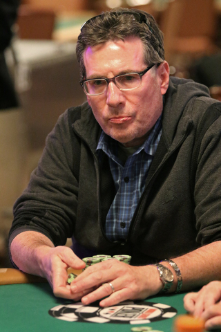 David Litt, of Calabasas, Calif., plays in the $1,000 buy-in Seniors No-limit Holdեm at the 47th annual World Series of Poker at the Rio Convention Center Sunday, June 19, 2016, in Las Vegas ...