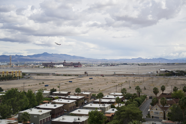 A vacant lot near the northeast corner of Tropicana Boulevard and Koval Lane is seen from the top floor of Wyndham Grand Desert on Monday, April 11, 2016. The lot is the proposed location for a do ...