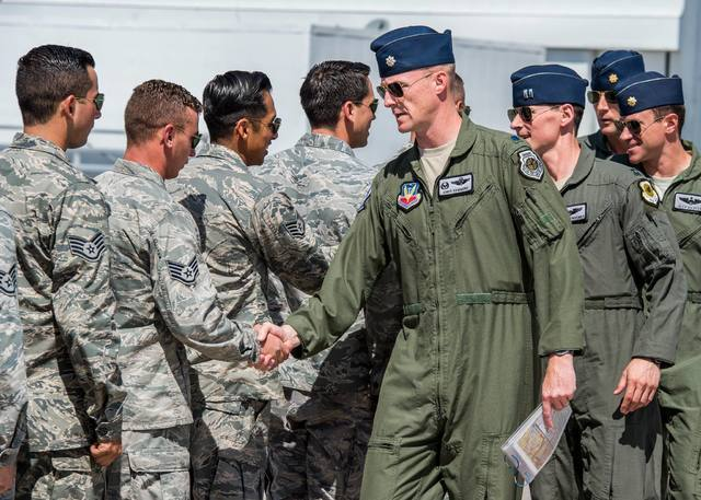 Lt. Col. Christopher Hammond, commander/leader and pilot of the Thunderbird No. 1 jet, leads the first flight after last week's aircraft mishap in Colorado Springs, Colo. on June 7, 2016. Photo co ...