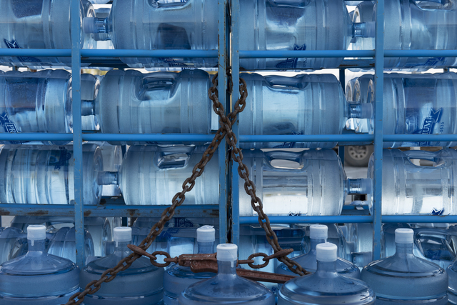 Jugs of potable water sit on a trailer during a weekly delivery to Tecopa, Calif. residents Tuesday, June 21, 2016. (Jason Ogulnik/Las Vegas Review-Journal)