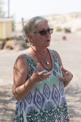 Amy Noel speaks with a reporter about acquiring potable water in Tecopa, Calif. Tuesday, June 21, 2016. Jason Ogulnik/Las Vegas Review-Journal