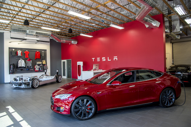 The Tesla Motors showroom in Las Vegas is shown on Tuesday, April 5, 2016. Joshua Dahl/Las Vegas Review-Journal