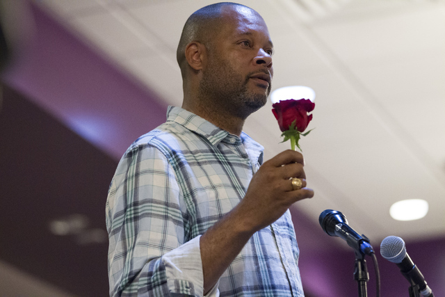 Nevada Senate Minority Leader Aaron Ford, D-Las Vegas, speaks during a candle light vigil honoring victims of the Orlando mass shooting at the The Gay and Lesbian Community Center of Southern Neva ...