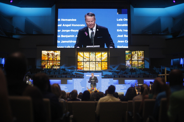 Orlando Mayor Buddy Dyer addresses attendees at a service to honor victims of the Orlando nightclub shooting at the First Baptist Orlando Church in Orlando, Florida on Tuesday, June 14, 2016. (Rac ...