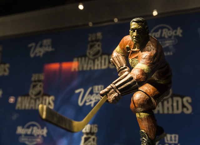 The Ted Lindsay Award on display in the lobby of the Hard Rock Hotel Monday, June 20, 2016, in Las Vegas. Benjamin Hager/Las Vegas Review-Journal