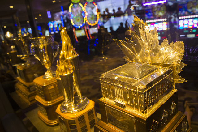The Conn Smythe Trophy on display Monday, June 20, 2016 at the Hard Rock Hotel in Las Vegas. (Benjamin Hager/Las Vegas Review-Journal)