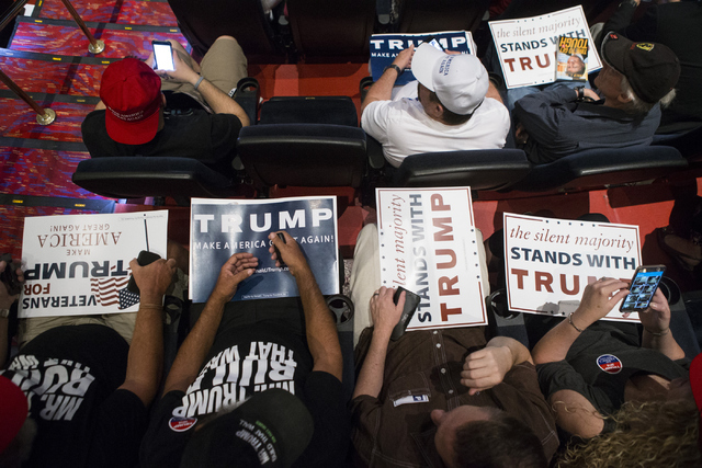 Supporters wait during a campaign rally for Republican presidential candidate Donald Trump at the Treasure Island hotel-casino on Saturday, June 18, 2016, in Las Vegas. Erik Verduzco/Las Vegas Rev ...