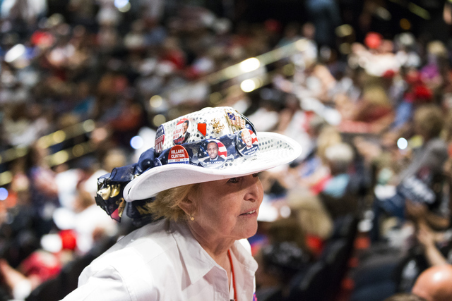 Gwen Barrett, president for Active Republican Women of Las Vegas, attends a campaign rally for Republican presidential candidate Donald Trump at the Treasure Island hotel-casino on Saturday, June  ...