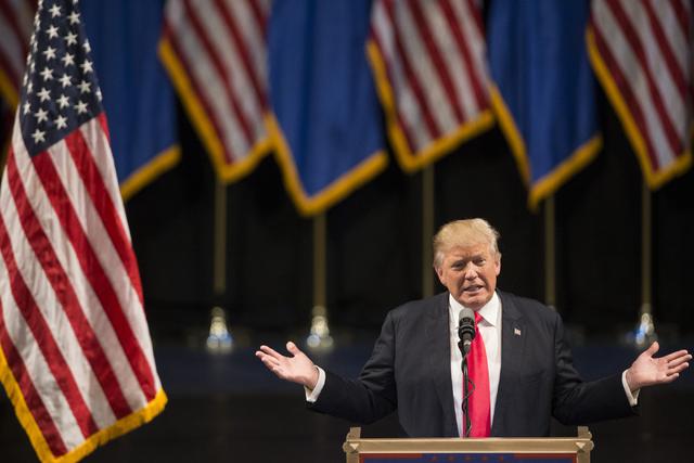 Republican presidential candidate Donald Trump speaks during a campaign rally at the Treasure Island hotel-casino on Saturday, June 18, 2016, in Las Vegas. Erik Verduzco/Las Vegas Review-Journal F ...
