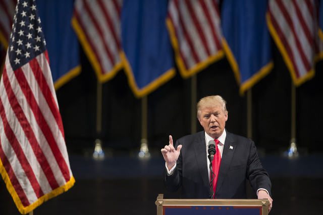 Republican presidential candidate Donald Trump speaks during a campaign rally at the Treasure Island hotel-casino on Saturday, June 18, 2016, in Las Vegas. Erik Verduzco/Las Vegas Review-Journal F ...