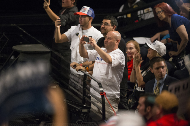 Supporters cheer for Republican presidential candidate Donald Trump during a campaign rally speech at the Treasure Island hotel-casino on Saturday, June 18, 2016, in Las Vegas. Erik Verduzco/Las V ...