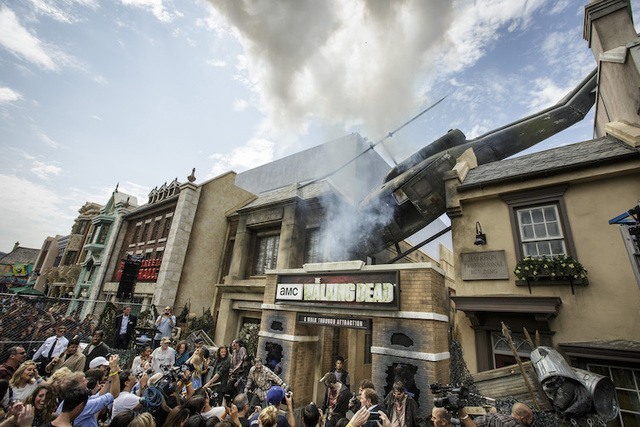 "The exterior of Universal Studios Hollywood's newly opened ""The Walking Dead"" attraction is seen at the grand opening celebration. (Courtesy Universal Studios Hollywood/David Sprague)"