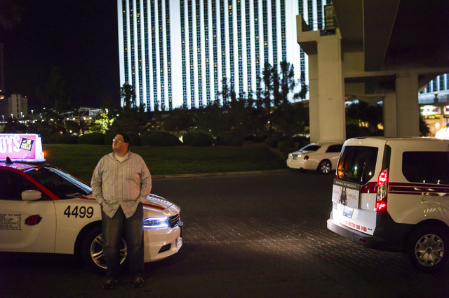 Desert Cab taxi driver Andrew Gnatovich waits to pick up passengers at the Westgate hotel-casino in Las Vegas on Wednesday, May 4, 2016. (Chase Stevens/Las Vegas Review-Journal)  Follow @csstevens ...