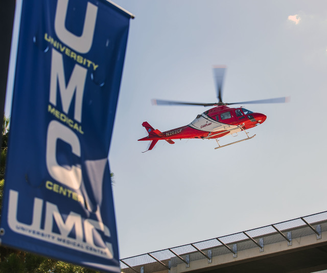 A medical helicopter prepares to land at UMC Trauma Center on Friday, May 27, 2016. Jeff Scheid/Las Vegas Review-Journal Follow @jlscheid