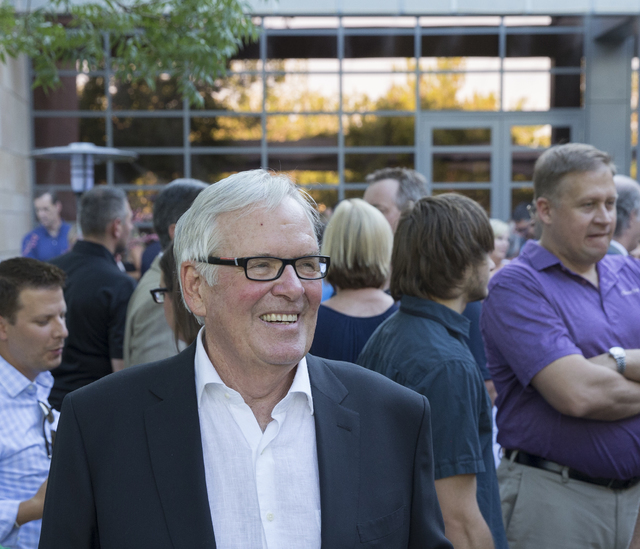 Bill Foley, owner of Las Vegas' NHL expansion team, socializes with guests at a party to celebrate the state's first major league sports franchise, June 23, 2016, in Las Vegas. Foley predicted his ...
