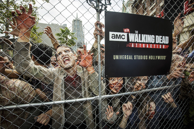 """Walkers"" are seen at the grand opening of Universal Studios newly opened ""The Walking Dead"" attraction. (Courtesy Universal Studios Hollywood/David Sprague)"