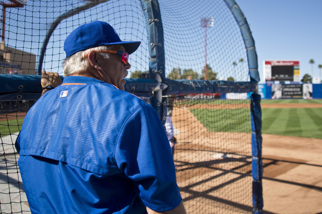 Manager Wally Backman looks out over the field during media day for the Las Vegas 51s at Cashman Field in Las Vegas on April 5, 2016. (Daniel Clark/Las Vegas Review-Journal) Follow @DanJClarkPhoto