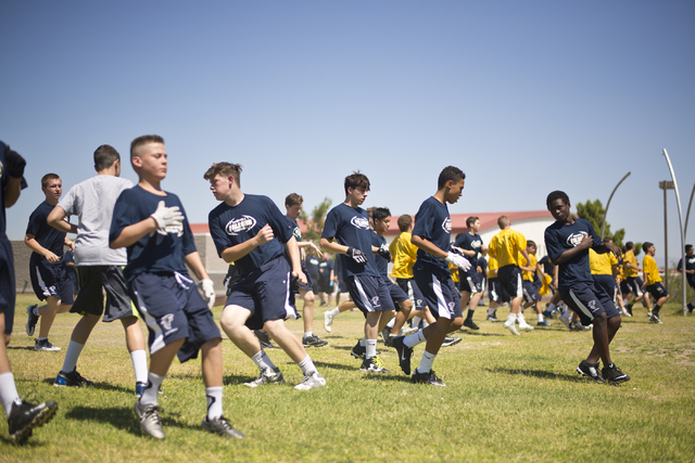 The Foothill High School football team runs drills during practice at Foothill High School in Henderson on Monday, June 20, 2016. Daniel Clark/Las Vegas Review-Journal Follow @DanJClarkPhoto