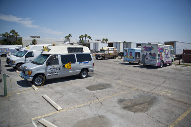 Ice cream trucks charge their batteries on the Anderson Dairy main campus in Las Vegas on Wednesday, June 22, 2016. (Daniel Clark/Las Vegas Review-Journal Follow @DanJClarkPhoto)