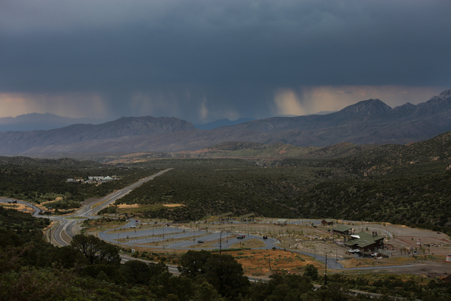 Seen from Mount Charleston, rain falls in the Las Vegas Valley on Thursday, June 30, 2016. (Brett Le Blanc/Las Vegas Review-Journal Follow @bleblancphoto)