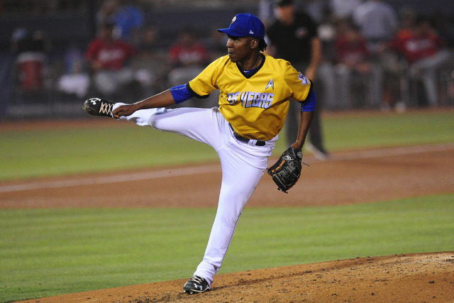 Las Vegas 51s pitcher Rafael Montero is shown June 4, 2016, at Cashman Field. (Josh Holmberg/Las Vegas Review-Journal)