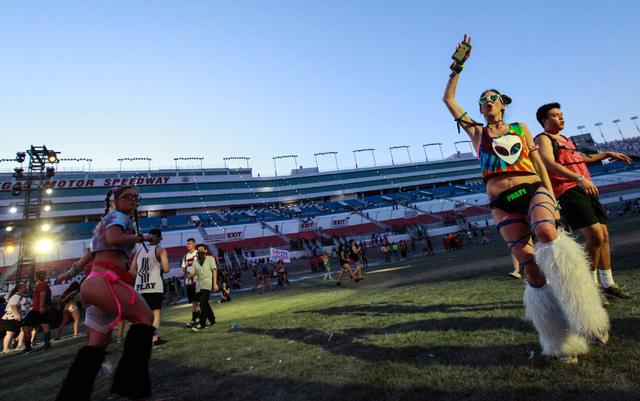 Attendees dance as Nghtmre performs at the Cosmic Meadow stage at Electric Daisy Carnival at the Las Vegas Motor Speedway in Las Vegas on Sunday, June 21, 2015. (Chase Stevens/Las Vegas Review-Jou ...