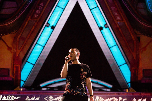 John Legend preforms as artist Tiesto's surprise musical guest  on the stage kineticFIELD  the third night of Electric Daisy Carnival at Las Vegas Motor Speedway early Monday morning, June 20, 201 ...