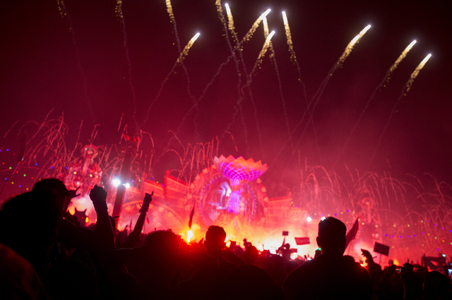 The crowd reacts to pyrotechnics during artist Alison Wonderland's set at kineticFIELD on the third night of Electric Daisy Carnival at Las Vegas Motor Speedway on Sunday, June 19, 2016. (Bridget  ...
