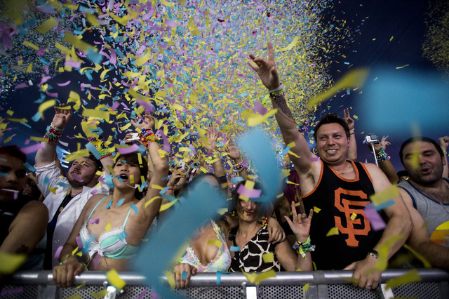 The Chainsmokers confetti cannon goes off on the second evening of Electric Daisy Carnival at Las Vegas Motor Speedway in the early hours of Sunday, June 19, 2016. (Bridget Bennett/Las Vegas Revie ...
