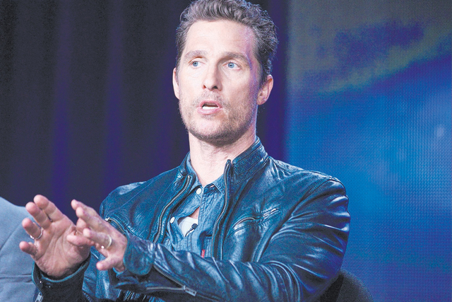 """Matthew McConaughey talks during the panel discussion for the TV show """"True Detective"""" in 2014. He told """"E! News Thursday"""" it would be fun to turn up in Channing Tatum's show """"Magic Mike Live La ..."""