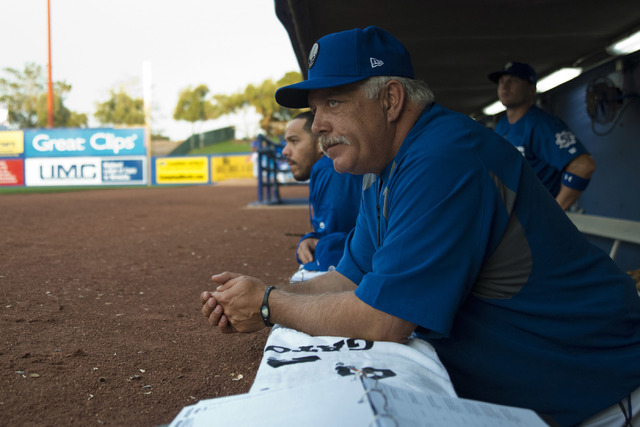 Las Vegas 51s manager Wally Backman (6) looks out at the field during their game against the Sacramento River Cats at Cashman Field in Las Vegas Thursday, April 14, 2016. (Daniel Clark/Las Vegas R ...