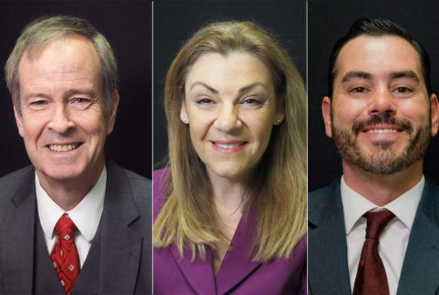 """Candidates for Clark County District Court Dept. 20, from left, Eric Johnson, Anat """"Annette"""" Levy, Scott Holper, are photographed at the Las Vegas Review-Journal offices in 2016. Catherine Ramsey  ..."""