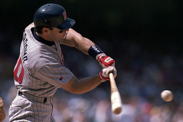 Marty Cordova of the Minnesota Twins swings at a pitch during their game against the California Angels Sunday, May 5, 1996, in Anaheim, Calif. (Mark J. Terrill/AP)