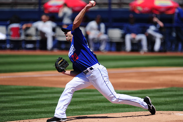 Las Vegas 51s starting pitcher Duane Below delivers to the Tacoma Rainiers in the second inning of a Triple-A minor league baseball game at Cashman Field in Las Vegas Sunday, May 1, 2016. (Josh Ho ...