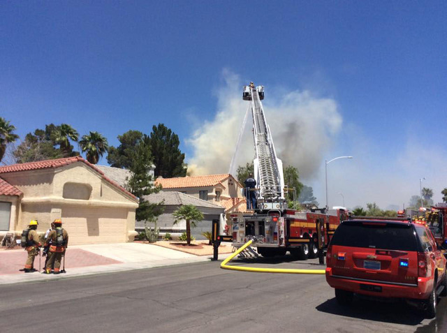 The Las Vegas Fire Department fights a fire at 3944 Coconut Court, near Rainbow Boulevard and Alexander Road on Wednesday, June 15, 2016. (Las Vegas Fire & Rescue/Facebook)