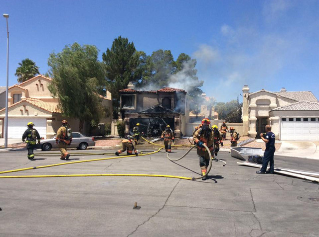 The Las Vegas Fire Department fights a fire at 3944 Coconut Court, near Rainbow Boulevard and Alexander Road on Wednesday, June 15, 2016. (Las Vegas Fire Department/Facebook)