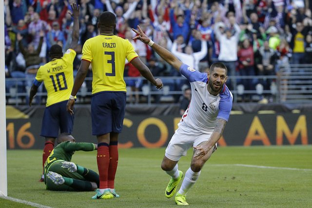 United States' Clint Dempsey , right, celebrates after his teammate Gyasi Zardes scoried against Ecuador during a Copa America Centenario quarterfinal soccer match, Thursday, June 16, 2016 at Cent ...