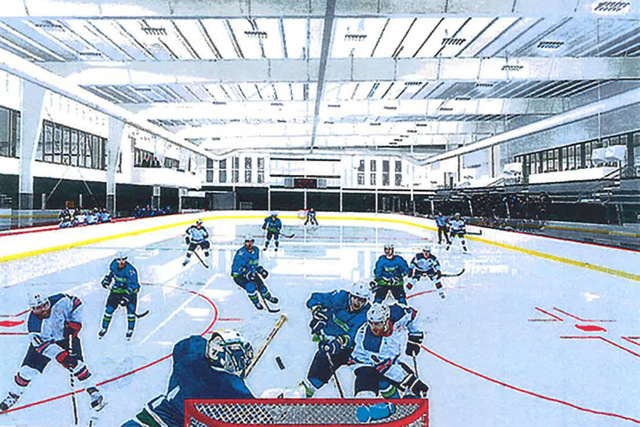 A rendering shows an ice rink at a proposed $17 million practice facility for an NHL team. The facility would be built on land located at Far Hills Avenue off Interstate-215 in Summerlin. (Courtesy)